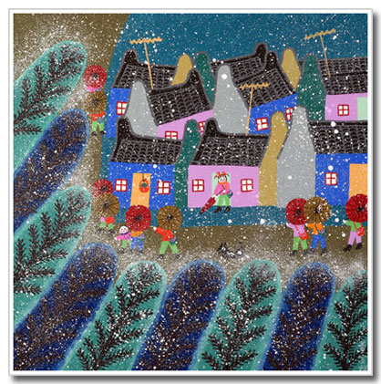Chinese peasant painting, folk art, kids, going to school in snow