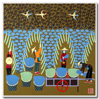 Chinese folk art, peasant painting, harvesting gourds