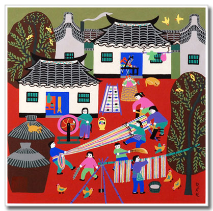 Chinese folk art, peasant painting, weaving cotton, kids
