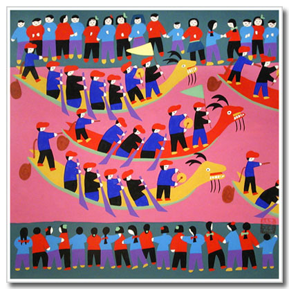 Chinese peasant painting, folk art, Dragon Boat Festival