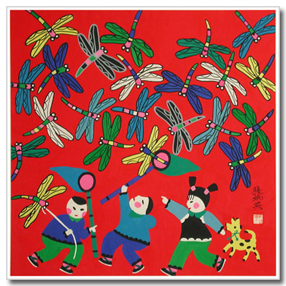 hand painted Chinese peasant painting, folk art, dragonflies, girl, boy, dog
