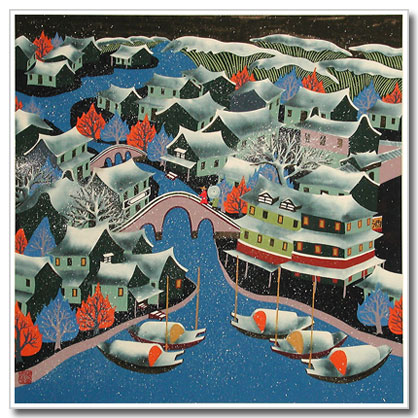 Chinese peasant painting, folk art, night, water town