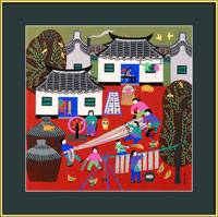 framed Chinese peasant painting, folk art, weaving cotton, kids