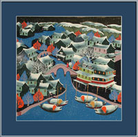 framed Chinese peasant painting, folk art, night, water town